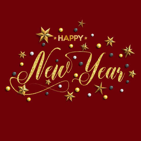 Happy New Year inscription decorated with gold stars and beads. Vector illustration.