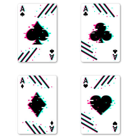 Set of four aces deck of cards for playing poker and casino with glitch effect. Vector illustration.