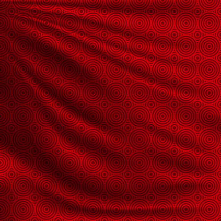 Beautiful background for your design Chinese New Year. Red oriental pattern on wavy silk fabric. Realistic vector illustration. Vettoriali