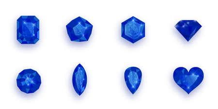 Set of blue gemstones. Vector illustration of sapphires. Vettoriali