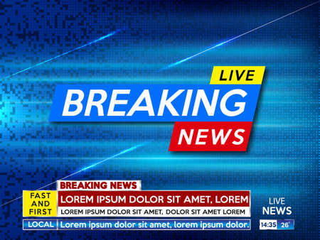 Background screen saver on breaking news. Breaking news live on blue technology background.