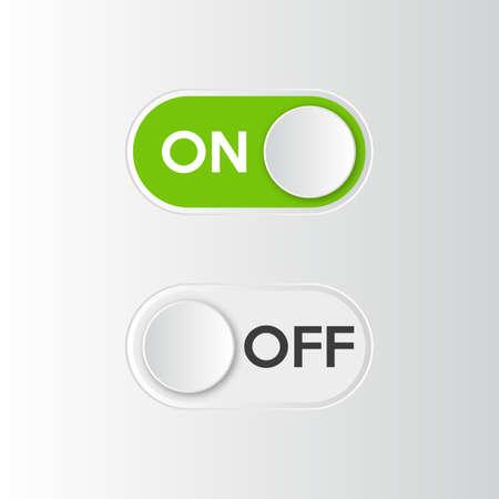 アイコンオンとオフ切り替えスイッチボタン。ベクトルイラスト。
