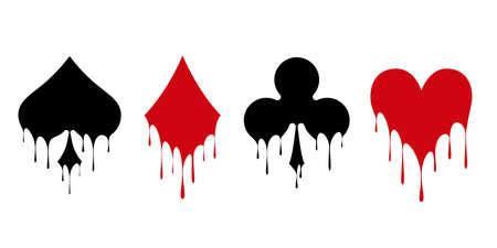 Conjunto de baralho de cartas de símbolos para jogar poker e casino. Tinta líquida fluida. Ilustração vetorial Ilustración de vector