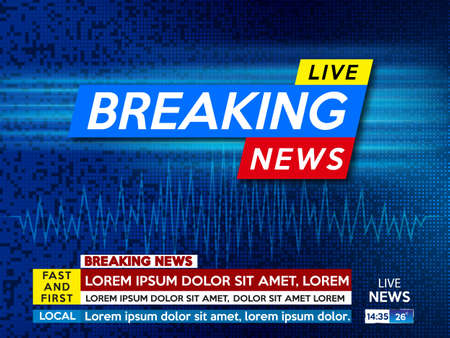 screen saver on breaking news. Breaking news live on blue technology background.