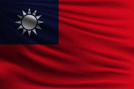 The national flag of Taiwan. The symbol of the state on wavy cotton fabric. Realistic vector illustration.