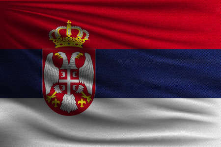 The national flag of Serbia. The symbol of the state on wavy cotton fabric. Realistic vector illustration. Illustration
