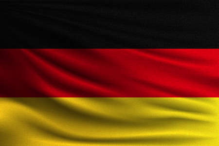 The national flag of Germany. The symbol of the state on wavy cotton fabric. Realistic vector illustration.