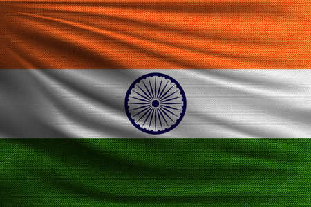 The national flag of India. The symbol of the state on wavy cotton fabric. Realistic vector illustration.