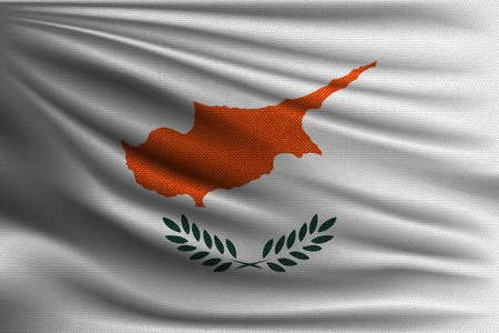 The national flag of Cyprus. The symbol of the state on wavy cotton fabric. Realistic vector illustration.