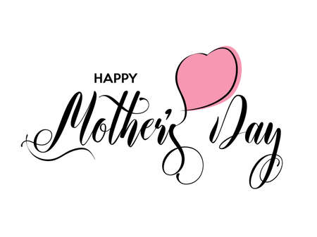 Happy Mothers Day calligraphy. Inscription is decorated with red heart. Vector illustration.