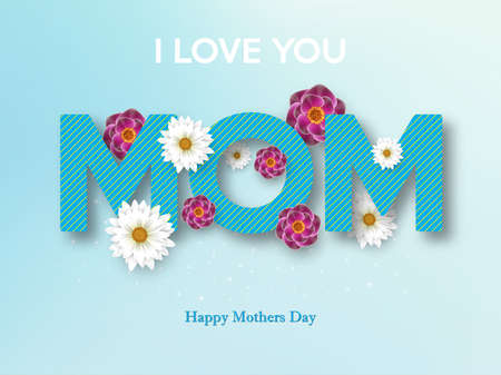 Happy Mothers Day greeting card design with flower. Vector illustration. Illustration