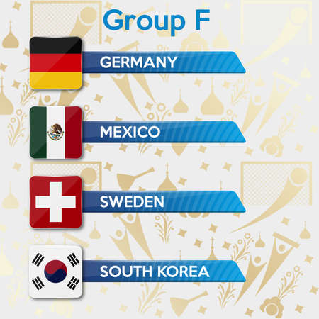Football World championship groups. Group F. Vector flag collection. Ilustração