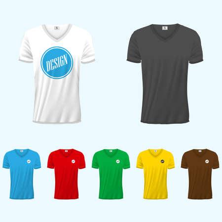 Colored T-shirts for men. Mockup. Realistic vector illustration Illustration