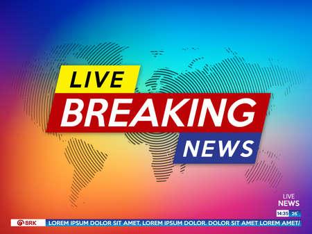 Screen saver in background sulle ultime notizie. Ultime notizie in diretta su sfondo sfumato di colore e mappa del mondo. Illustrazione vettoriale.