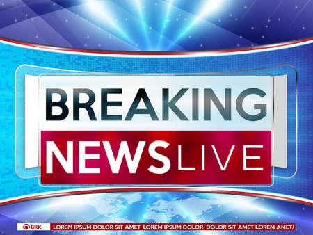 Screen saver on breaking news background. Breaking news live on blue background and world map vector illustration.