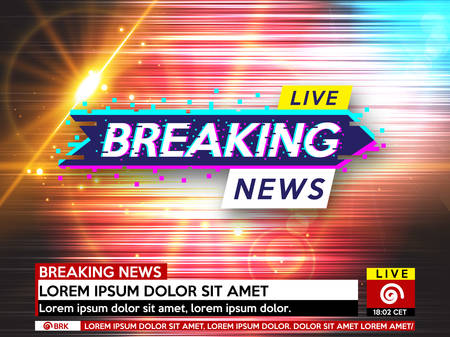 Screen saver on breaking news background. Breaking news live on glitch background vector illustration. Vectores