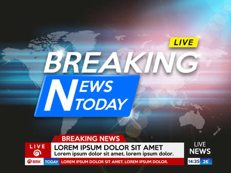 Background screen saver on breaking news. Breaking news live on dark  background with sunrise and world map. Vector illustration.