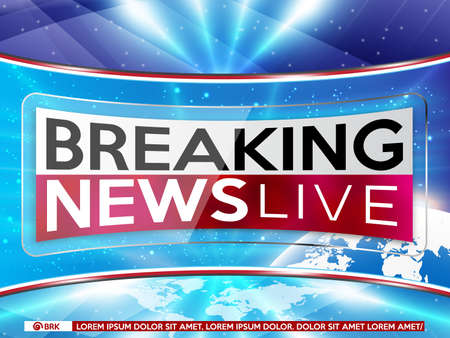 Background screen saver on breaking news. Breaking news live on blue background and world map. Vector illustration.