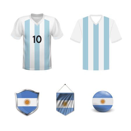 Set of T-shirts and flags of the national team of Argentina. Vector illustration.