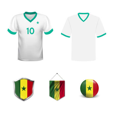 1528a15b88d Set of T-shirts and flags of the national team of Senegal. Vector  illustration