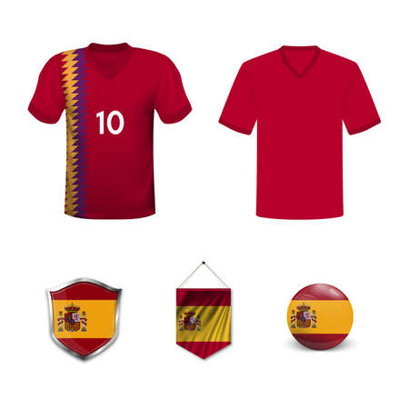 Set of T-shirts and flags of the national team of Spain. Vector illustration.