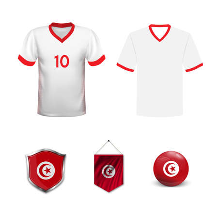 Set of T-shirts and flags of the national team of Tunisia. Vector illustration. Ilustração