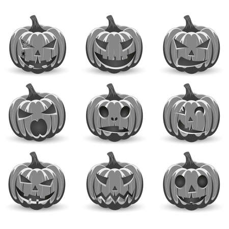 Set pumpkin on white background. The main symbol of the Happy Halloween holiday. Black and White pumpkin with smile for your design for the holiday Halloween. Vector illustration.
