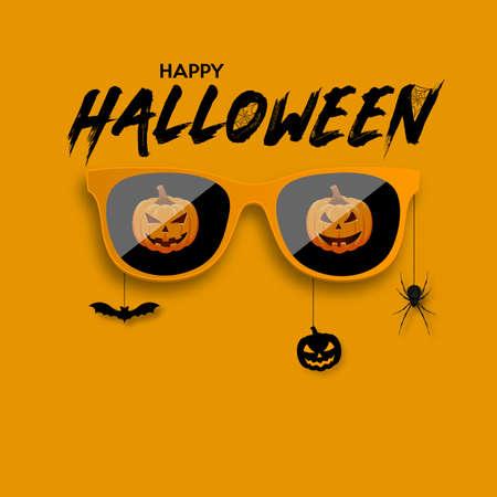 Orange hipster glasses. Happy Halloween celebration. Vector illustration.