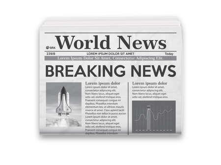 Illustrazione vettoriale realistica del layout di giornale in bianco e nero.