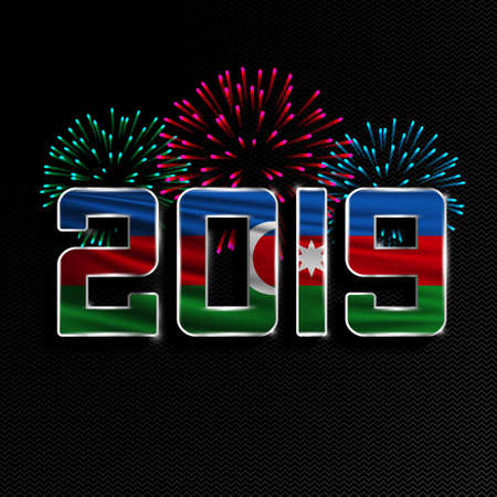 Happy New Year and Merry Christmas. 2019 New Year background with national flag of Azerbaijan and fireworks. Vector illustration.