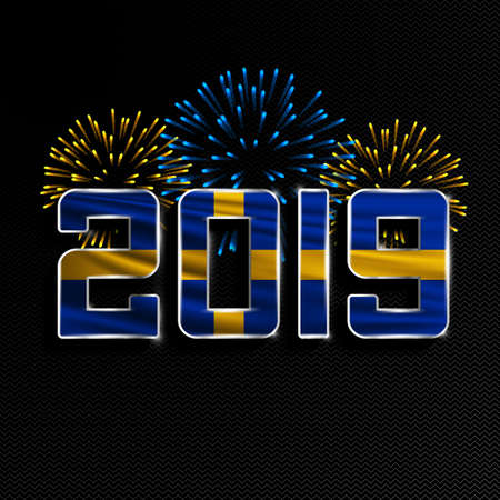 Happy New Year and Merry Christmas. 2019 New Year background with national flag of Sweden and fireworks. Vector illustration. 向量圖像
