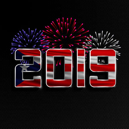 Happy New Year and Merry Christmas. 2019 New Year background with national flag of Puerto Rico and fireworks. Vector illustration. Illustration