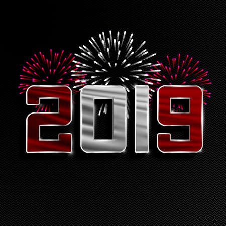 Happy New Year and Merry Christmas. 2019 New Year background with national flag of Peru and fireworks. Vector illustration. 스톡 콘텐츠 - 110750304