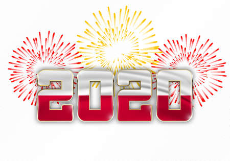 Happy New Year and Merry Christmas. 2020 New Year background with national flag of Poland and fireworks. Vector illustration.
