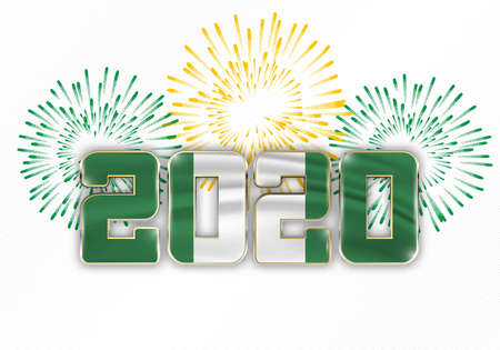 Happy New Year and Merry Christmas. 2020 New Year background with national flag of Nigeria and fireworks. Vector illustration. Ilustração