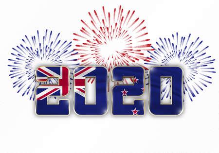 Happy New Year and Merry Christmas. 2020 New Year background with national flag of New Zealand and fireworks. Vector illustration.