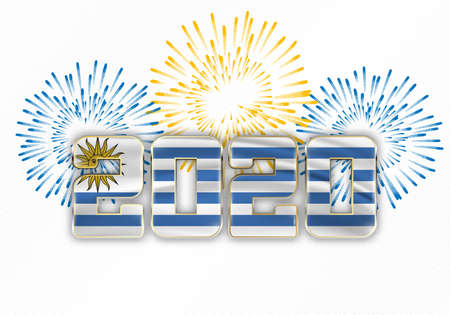 Happy New Year and Merry Christmas. 2020 New Year background with national flag of Uruguay and fireworks. Vector illustration.