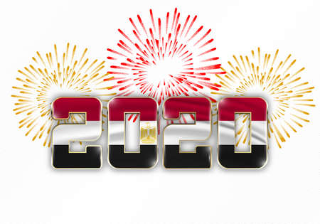 Happy New Year and Merry Christmas. 2020 New Year background with national flag of Egypt and fireworks. Vector illustration.