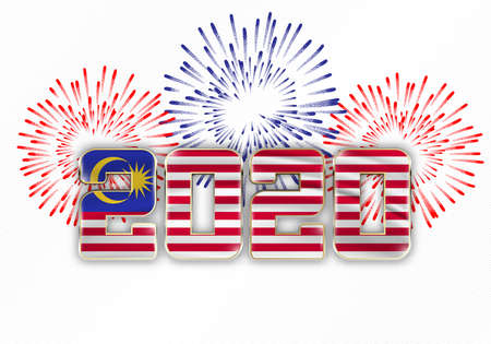 Happy New Year and Merry Christmas. 2020 New Year background with national flag of Malaysia and fireworks. Vector illustration.