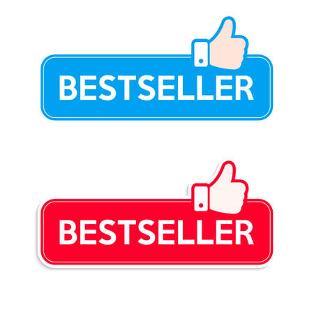 Bestseller. Icon set. Recommended thumbs up icon banner. Vector illustration.