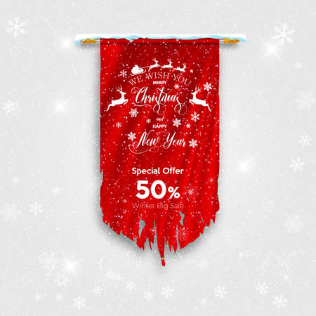 Merry Christmas and Happy New Year greeting card. Red torn flag banner on winter background with snow and snowflakes. Vector illustration.