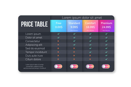 Planes de precios para sitios web y aplicaciones. Tabla de precios moderna oscura. Banner de mesa de alojamiento. Tableta con lista de precios. Plantilla oscura. Ilustración de vector.