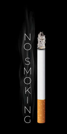 Realistic burning cigarette. Illustration on the black background. Vector illustration.