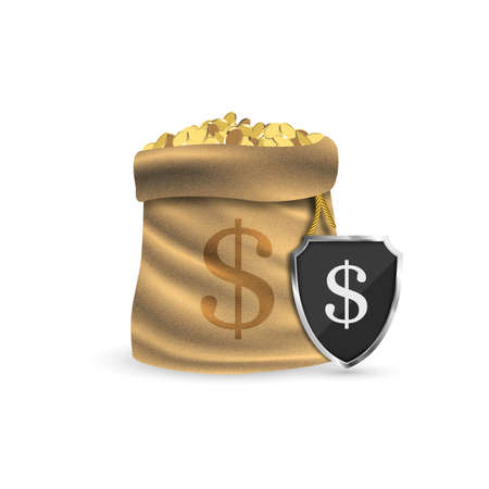 Full sack with gold coins. The concept of protecting your money. Vector illustration. 일러스트