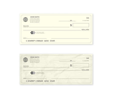 Realistic blank bank check. New and crumpled cheque. Vector illustration.  イラスト・ベクター素材