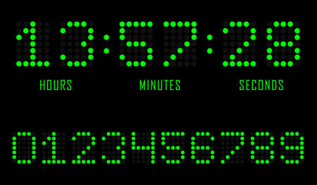 Countdown website vector flat template digital clock timer background. Countdown timer. Clock counter. Digital scoreboard. Vector illustration.