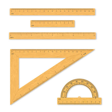 Set of measuring tools. Rulers, triangles, protractor. School wood instruments isolated on white background. Vector illustration.