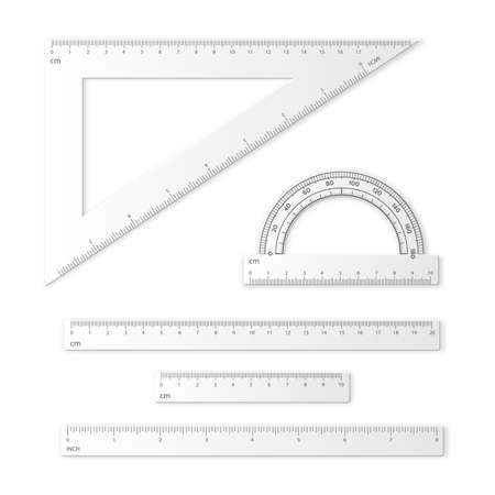 Set of measuring tools. Rulers, triangles, protractor. School plastic instruments isolated on white background. Vector illustration.