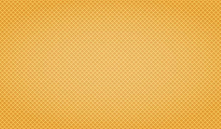 Waffle yellow background. Texture wafer pattern for your design. Vector illustration.