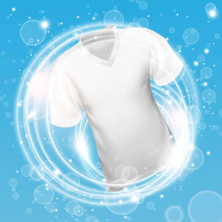 White shirt washing in water with soap bubble and Providing whiteness and deep clean. Vector illustration.